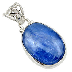 18.23cts natural blue kyanite 925 sterling silver pendant jewelry r44404