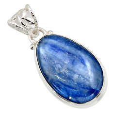 19.60cts natural blue kyanite 925 sterling silver pendant jewelry r44412
