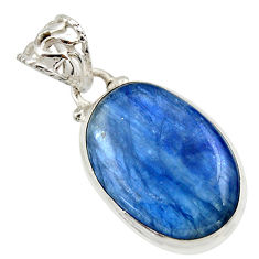 16.83cts natural blue kyanite 925 sterling silver pendant jewelry r44415
