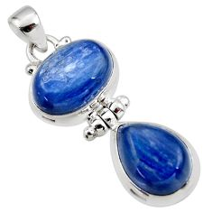 13.51cts natural blue kyanite 925 sterling silver pendant jewelry r46841