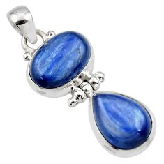 13.39cts natural blue kyanite 925 sterling silver pendant jewelry r46845