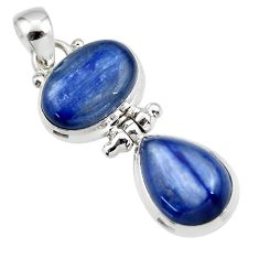 13.41cts natural blue kyanite 925 sterling silver pendant jewelry r46847