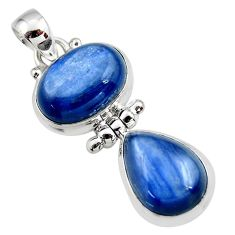 13.19cts natural blue kyanite 925 sterling silver pendant jewelry r46858