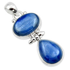 12.88cts natural blue kyanite 925 sterling silver pendant jewelry r46860