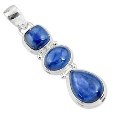 14.41cts natural blue kyanite 925 sterling silver pendant jewelry r47192