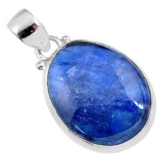 18.15cts natural blue kyanite 925 sterling silver pendant jewelry r64368