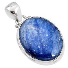 17.55cts natural blue kyanite 925 sterling silver pendant jewelry r64462