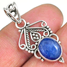 3.67cts natural blue kyanite 925 sterling silver pendant jewelry r90221