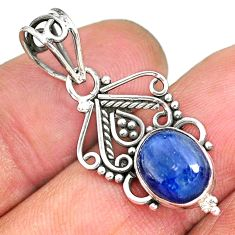 3.72cts natural blue kyanite 925 sterling silver pendant jewelry r90227