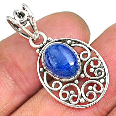3.89cts natural blue kyanite 925 sterling silver pendant jewelry r90236