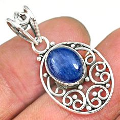 4.00cts natural blue kyanite 925 sterling silver pendant jewelry r90237