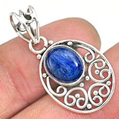 3.98cts natural blue kyanite 925 sterling silver pendant jewelry r90239