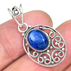 3.69cts natural blue kyanite 925 sterling silver pendant jewelry r90253