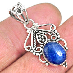3.46cts natural blue kyanite 925 sterling silver pendant jewelry r90260