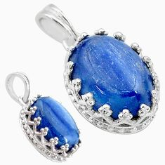 6.28cts natural blue kyanite 925 sterling silver pendant jewelry t20522