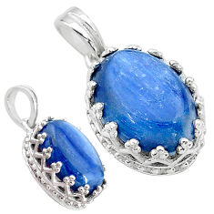 6.26cts natural blue kyanite 925 sterling silver pendant jewelry t20525