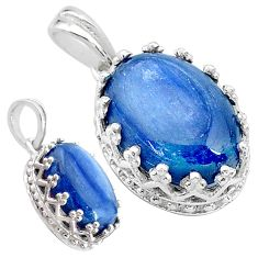 6.26cts natural blue kyanite 925 sterling silver pendant jewelry t20527