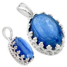 6.62cts natural blue kyanite 925 sterling silver pendant jewelry t20528