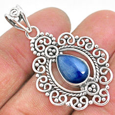 4.22cts natural blue kyanite 925 sterling silver handmade pendant t2312