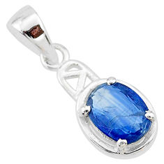 1.86cts natural blue kyanite 925 sterling silver handmade pendant t7881