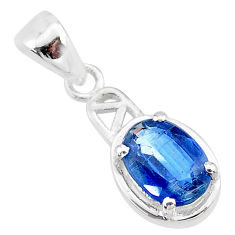 2.01cts natural blue kyanite 925 sterling silver handmade pendant t7888