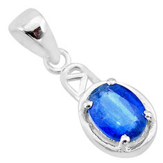 2.05cts natural blue kyanite 925 sterling silver handmade pendant t7895
