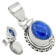 4.17cts natural blue kyanite 925 sterling silver poison box pendant r83755