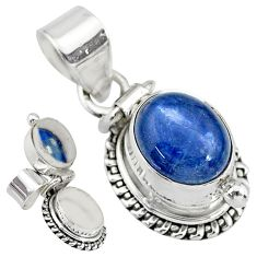 4.19cts natural blue kyanite 925 sterling silver poison box pendant r83757