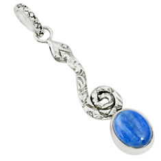 3.91cts natural blue kyanite 925 sterling silver snake pendant jewelry r78508