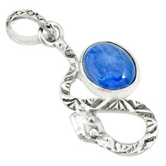 3.62cts natural blue kyanite 925 sterling silver snake pendant jewelry r78533