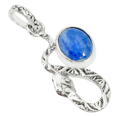 3.62cts natural blue kyanite 925 sterling silver snake pendant jewelry r78534