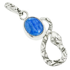3.76cts natural blue kyanite 925 sterling silver snake pendant jewelry r78546