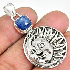 3.10cts natural blue kyanite 925 sterling silver sun moon face pendant r90419