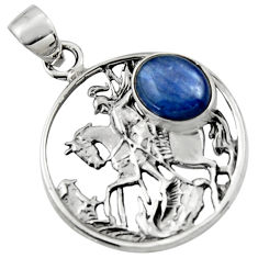 4.51cts natural blue kyanite 925 sterling silver unicorn pendant jewelry r52759