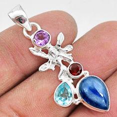 7.33cts natural blue kyanite amethyst 925 silver angel wings fairy pendant t2256