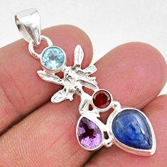 7.50cts natural blue kyanite amethyst 925 silver angel wings fairy pendant t2285
