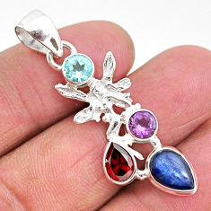 6.26cts natural blue kyanite amethyst 925 silver angel wings fairy pendant t2288