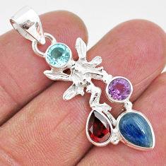 7.17cts natural blue kyanite amethyst 925 silver angel wings fairy pendant t2299