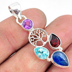 5.23cts natural blue kyanite amethyst 925 silver tree of life pendant t2241