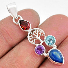 6.58cts natural blue kyanite amethyst 925 silver tree of life pendant t2244