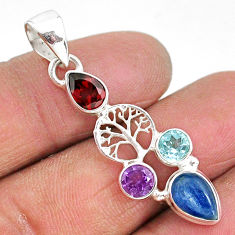 6.22cts natural blue kyanite amethyst 925 silver tree of life pendant t2253