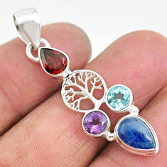 5.84cts natural blue kyanite amethyst 925 silver tree of life pendant t2266