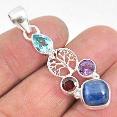6.80cts natural blue kyanite amethyst 925 silver tree of life pendant t2269