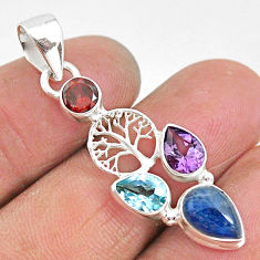 5.84cts natural blue kyanite amethyst 925 silver tree of life pendant t2271