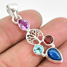 5.43cts natural blue kyanite amethyst 925 silver tree of life pendant t2277