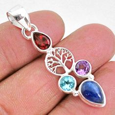 6.82cts natural blue kyanite amethyst 925 silver tree of life pendant t2282