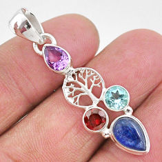 5.95cts natural blue kyanite amethyst 925 silver tree of life pendant t2286