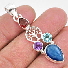 7.79cts natural blue kyanite amethyst 925 silver tree of life pendant t2295