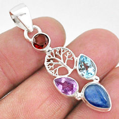 6.70cts natural blue kyanite amethyst 925 silver tree of life pendant t2296