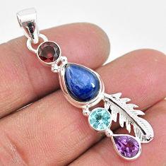 7.15cts natural blue kyanite amethyst 925 sterling silver handmade pendant t2274